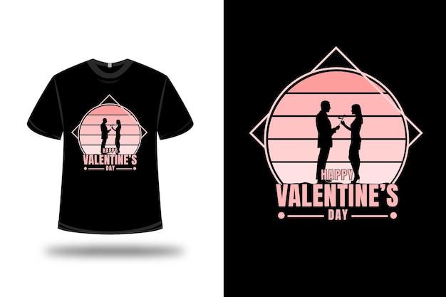 T-shirt happy valentine day color crema sfumata