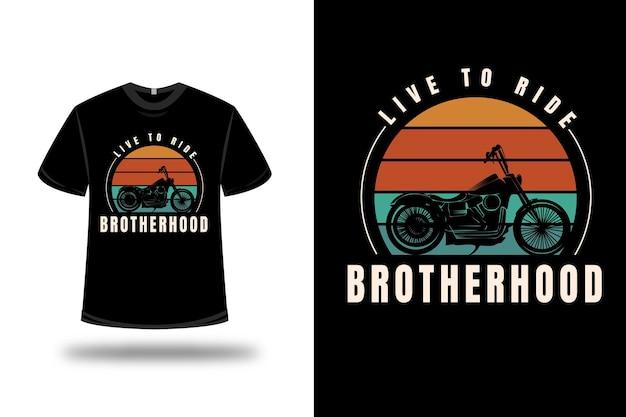 T-shirt harley live to ride brotherhood color arancio e verde