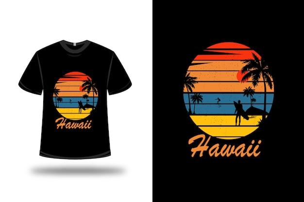 T-shirt hawaii colore arancio blu e giallo