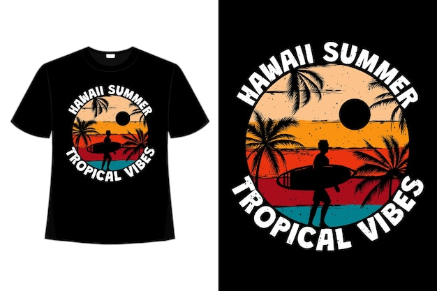 T-shirt hawaii estate vibrazioni tropicali surf beach colore palma retrò stile vintage