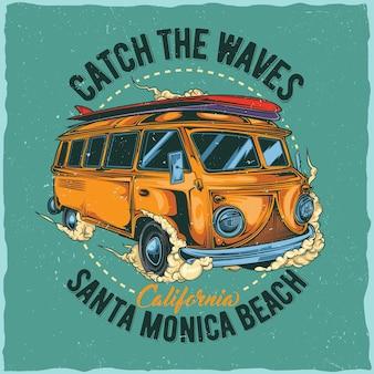 Disegno dell'etichetta della maglietta con l'illustrazione del bus surf hippie