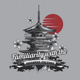 Design etichetta t-shirt con illustrazione del tempio giapponese