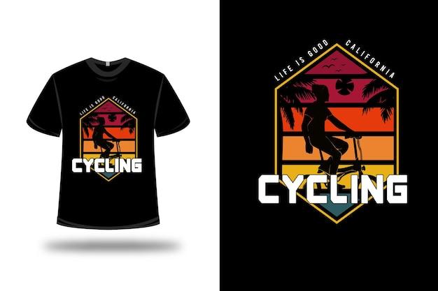 T-shirt life is good california ciclismo colore rosso arancio e verde