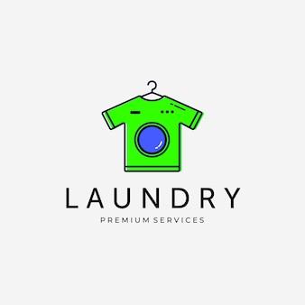 T-shirt logo vector design line art vintage illustration, logo design lavanderia business