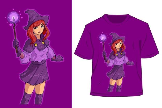 Disegno del personaggio della ragazza della scuola del mago della maglietta