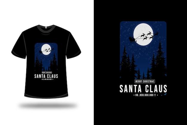T-shirt buon natale babbo natale su blu e nero