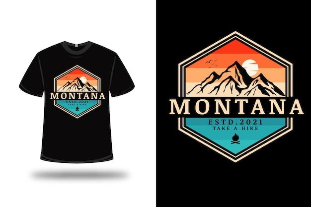 T-shirt montana prendere un'escursione color arancio e verde