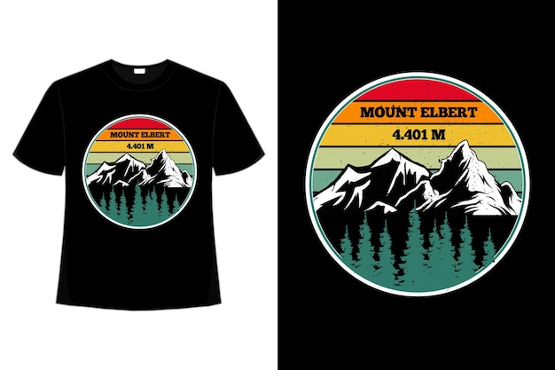 T-shirt montagna elbert pino retrò cielo