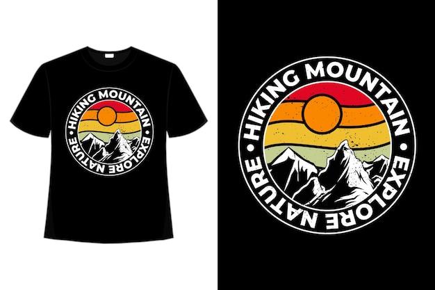 T-shirt montagna esplorare la natura retrò vintage
