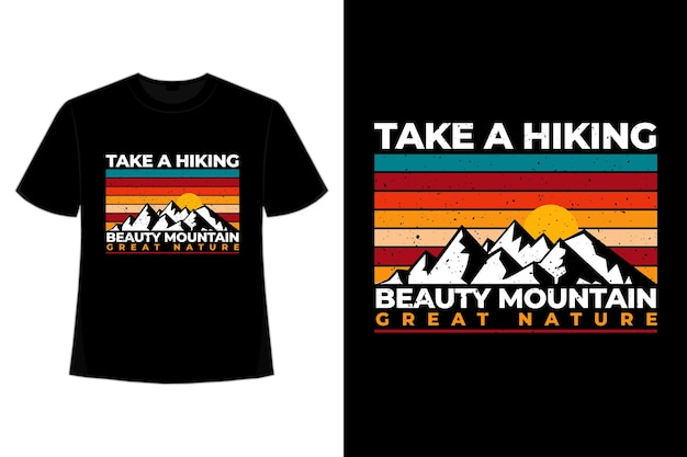 T-shirt montagna escursionismo natura tramonto retrò vintage