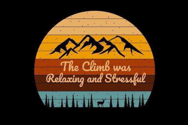 T-shirt montagna silhouette pino cervo stile retrò