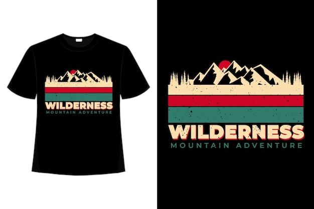 T-shirt montagna natura selvaggia avventura pino vintage retrò