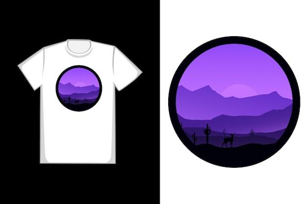 T-shirt montagne di cervi e paesaggio di cactus