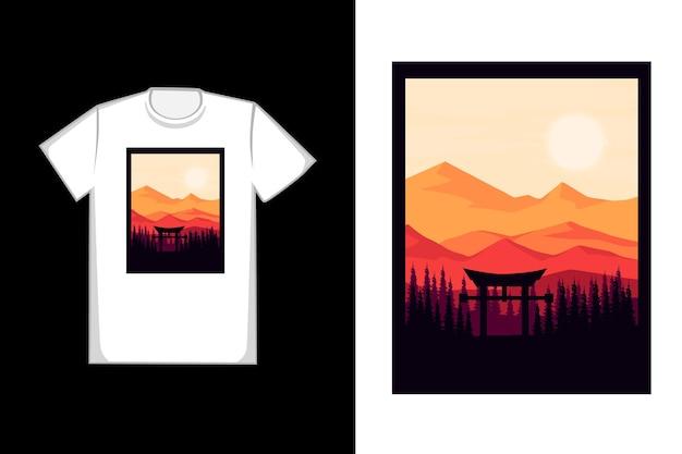 T-shirt porte del tempio naturale in montagna e foreste di colore nero e arancione