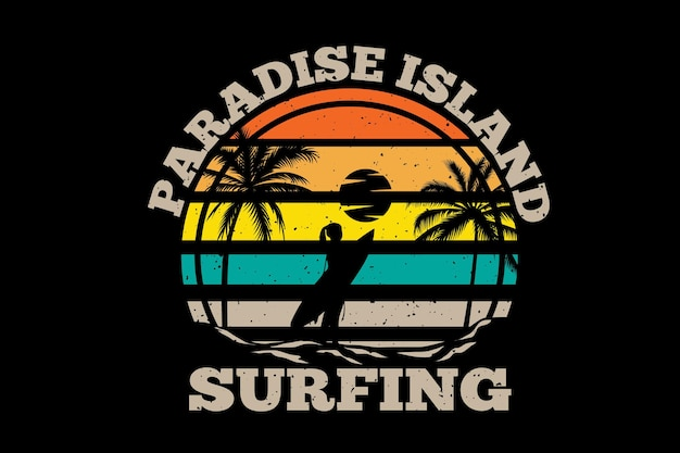T-shirt isola paradiso surf palma illustrazione vintage retrò