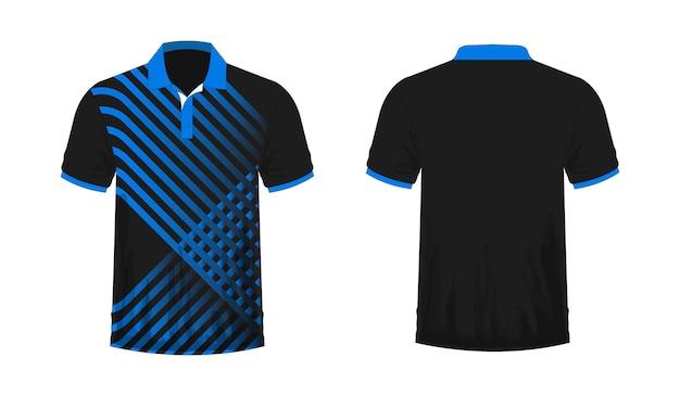 T-shirt polo modello blu e nero per il design su sfondo bianco. illustrazione vettoriale eps 10.