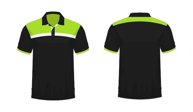T-shirt polo modello verde e nero per il design su sfondo bianco. illustrazione vettoriale eps 10.