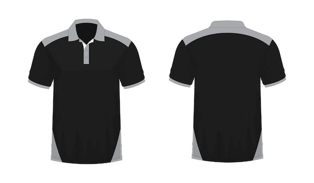 T-shirt polo modello grigio e nero per il design su sfondo bianco. illustrazione vettoriale eps 10.