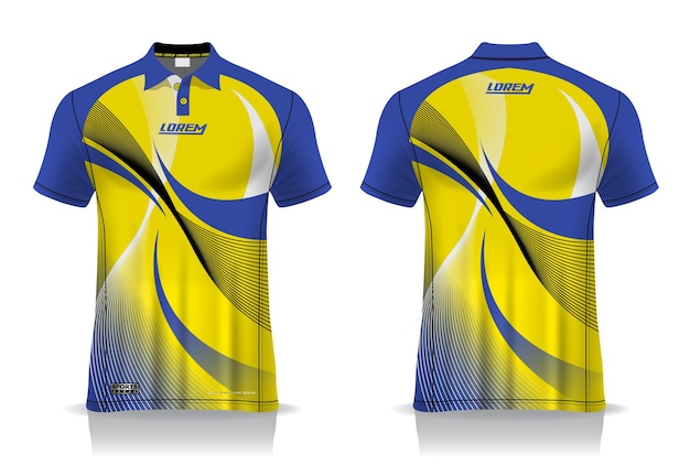 T-shirt polo sport design, mockup jersey badminton per modello uniforme