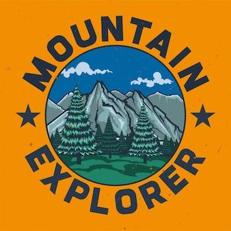 T-shirt o poster design con illustrazione del campeggio.
