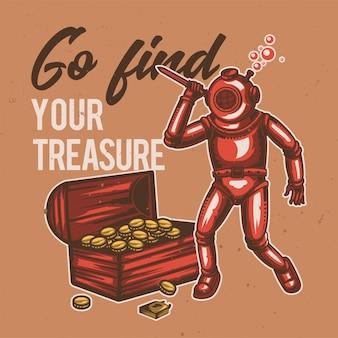 T-shirt o poster design con illustrazione del subacqueo e del tesoro.