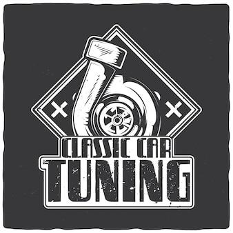 T-shirt o poster design con illustrazione della turbina del motore