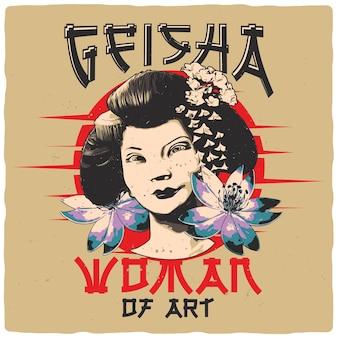 T-shirt o poster design con illustrazione di geisha