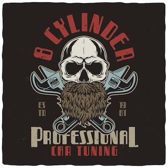 T-shirt o poster design con illustrazione del cranio e chiavi inglesi