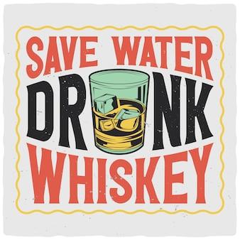 T-shirt o poster design con illustrazione di un bicchiere di whisky