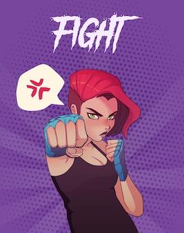 T-shirt stampata con ragazza boxe arrabbiata con bende blu e capelli rossi.