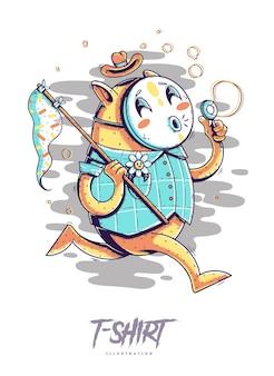 T-shirt stampata con gatto che soffia bolle. illustrazione di stile hipster alla moda.