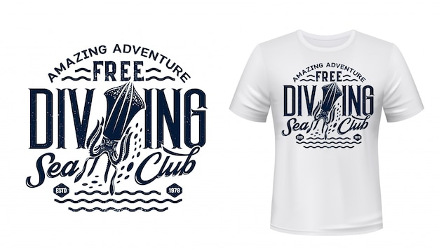 Stampa t-shirt con seppie, club di immersioni subacquee