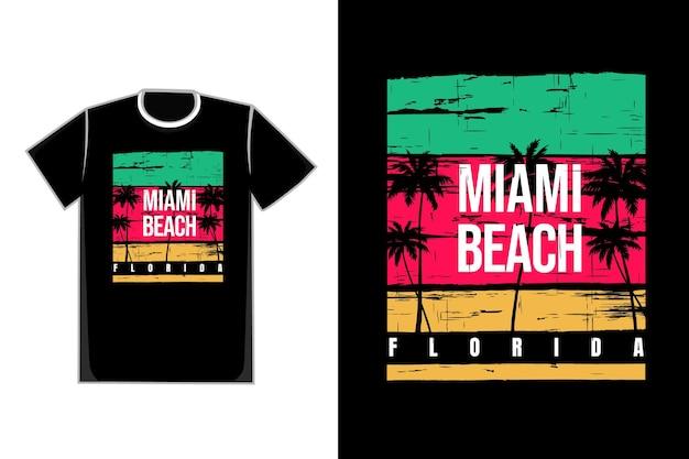 T-shirt stile retrò miami beach florida albero di cocco bellissimo