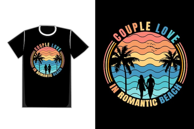 T-shirt coppia romantica sulla spiaggia titolo coppia amore in spiaggia romantica