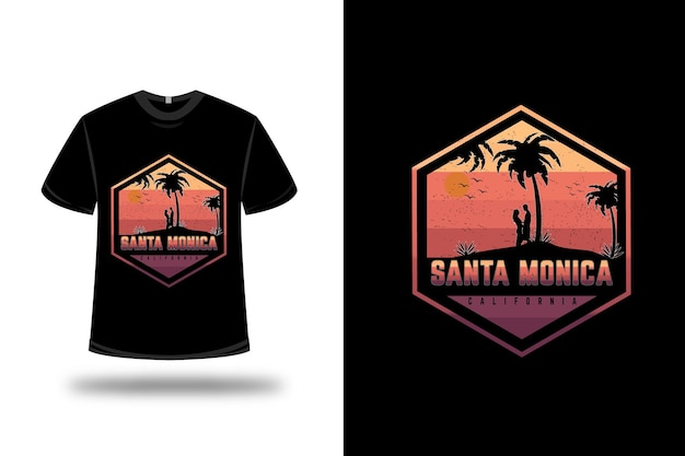 T-shirt santa california colore arancio e viola
