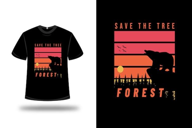 T-shirt save the tree forest color arancio e rosso