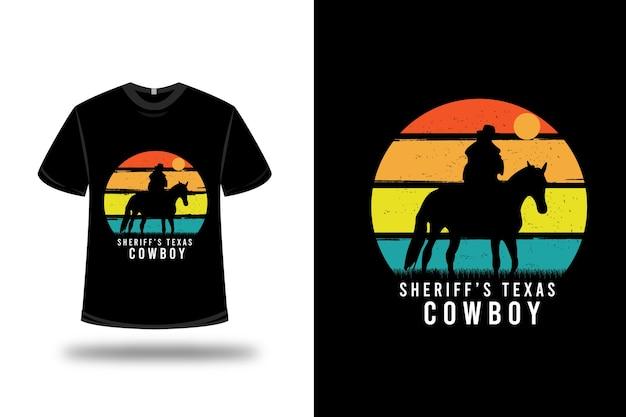 T-shirt texas cowboy sceriffo colore arancio giallo e verde