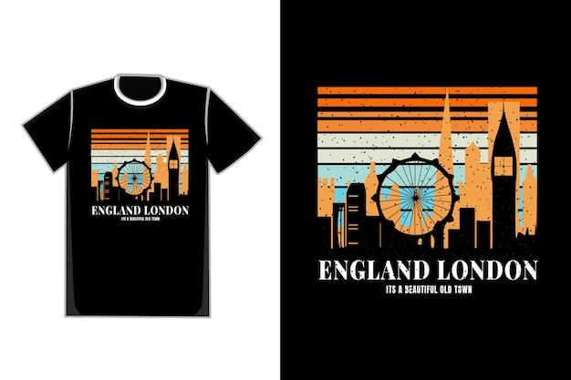 T-shirt silhouette inghilterra london town stile retrò