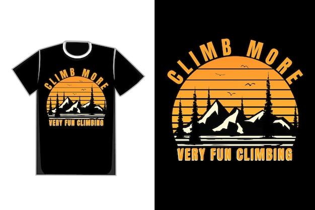 T-shirt silhouette montagna salita albero di pino cielo al tramonto