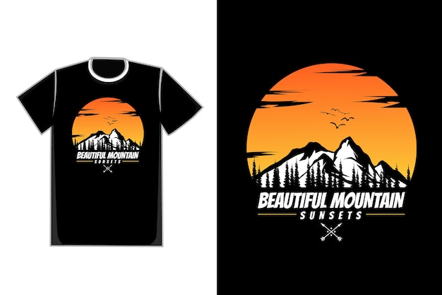 T-shirt silhouette montagna naturale bellissimi tramonti cielo