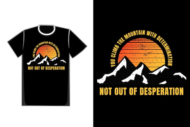 T-shirt silhouette montagna tramonto uccello vintage