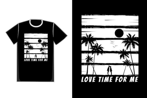 T-shirt silhouette coppia romantica albero stile nero bianco