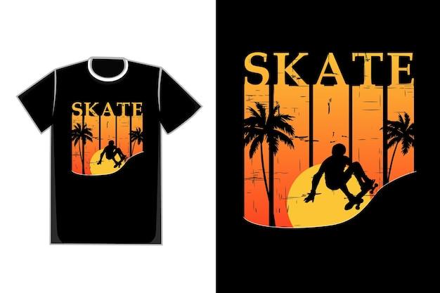 T-shirt silhouette skateboard stile retrò tramonto