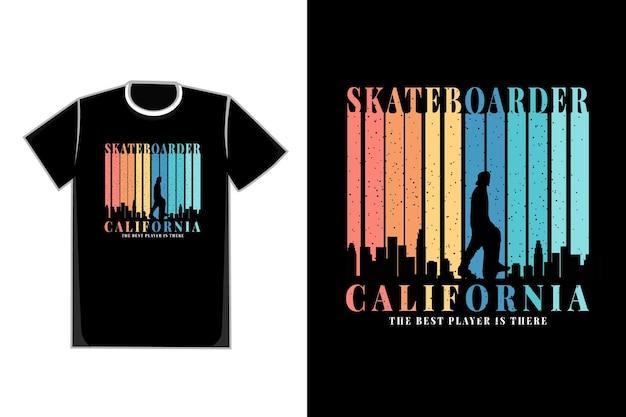 T-shirt silhouette skateboarder california city vettore retrò