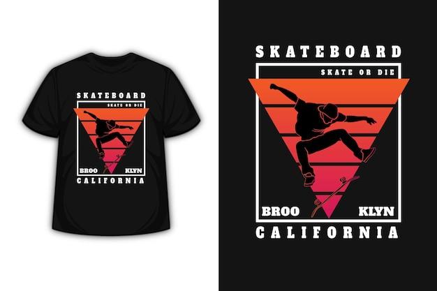 T-shirt skateboard brooklyn california colore arancio e rosso