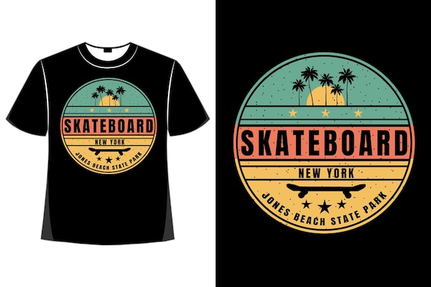 T-shirt skateboard new york beach tramonto stile retrò