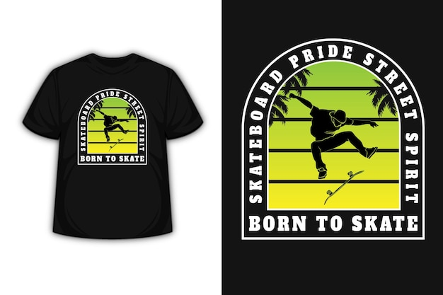 T-shirt skateboard ride street spirit nata per skate colore verde e sfumata