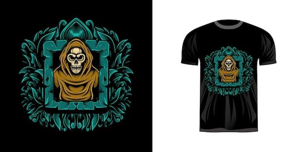 Illustrazione del cranio di t-shirt con ornamento incisione