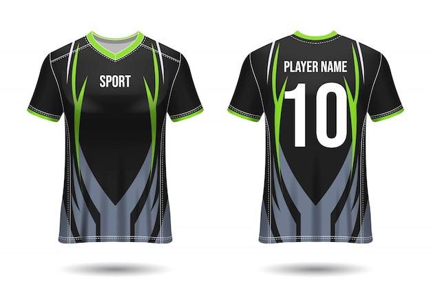 T-shirt sport design. maglia da calcio per squadra di calcio. vista anteriore e posteriore uniforme.