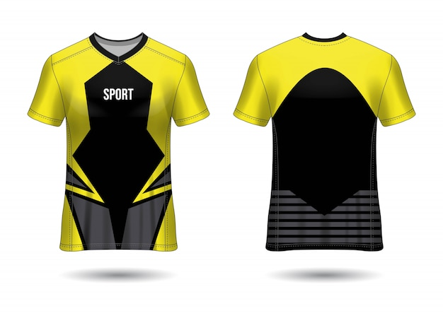 T-shirt sport design. mockup di maglia da calcio per squadra di calcio. vista anteriore e posteriore uniforme. progettazione del modello. modello jersey realistico